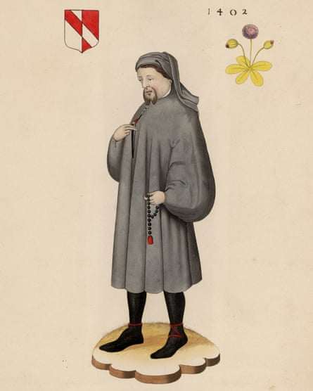 An engraving by Henry Shaw in 1402 of Geoffrey Chaucer.