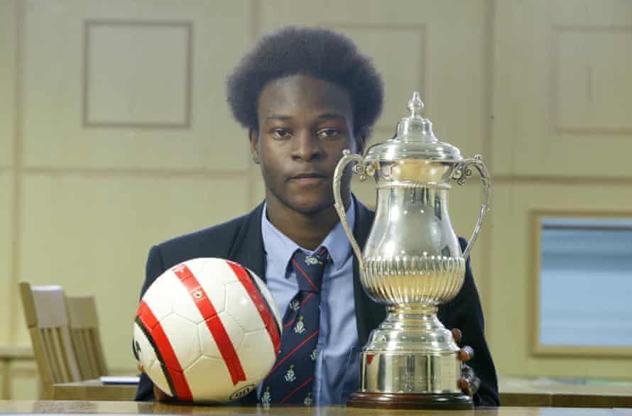 14 year old football sensation Victor Moses, at Whitgift school, Croydon.