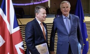 David Frost (left) with Michel Barnier in Brussels.