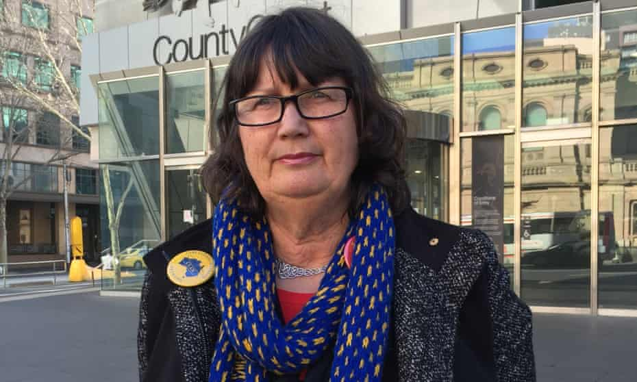 Care Leavers Australia Network executive officer Leonie Sheedy outside hearings for the child abuse royal commission in Melbourne in August.