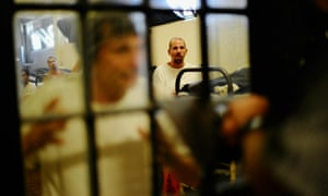 Inmates at Chino state prison in Chino, California. Civil rights advocates are criticizing searches of visitors suspected of carrying drugs.