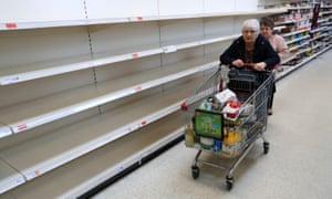 Empty shelves at a Sainsbury's supermarket. (Photograph: Mike Egerton/PA Wire)