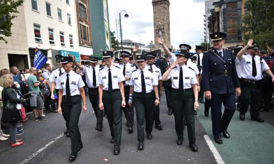 PSNI and Garda officers in the Belfast Gay Pride parade on August 5. Ireland's gay prime minister, Leo Varadkar, said it was only a matter of time before same-sex marriage is legal in the north.