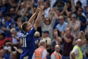 Marc Albrighton celebrates scoring his team's fourth goal in the first Premier League match against Sunderland at the King Power Stadium
