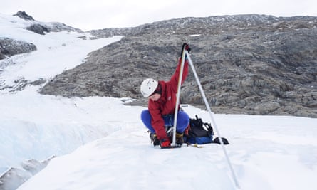 Scientist Dr Lauren Vargo conducting research on New Zealand glaciers.