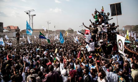 Supporters of Martin Fayulu, the runner-up in the Democratic Republic of the Congo's presidential elections, at a protest rally following the result of January's presidential election