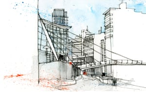 The Lowry, Salford as drawn by Simone Ridyard of Urban Sketchers