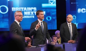 Conservative leader candidates Michael Gove, Jeremy Hunt and Sajid Javid during a Channel 4 TV debate.