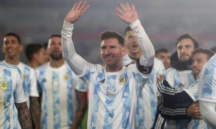 Lionel Messi celebrates after his hat-trick against Bolivia seals a 3-0 win and makes him the record goalscorer in men's South American international football.