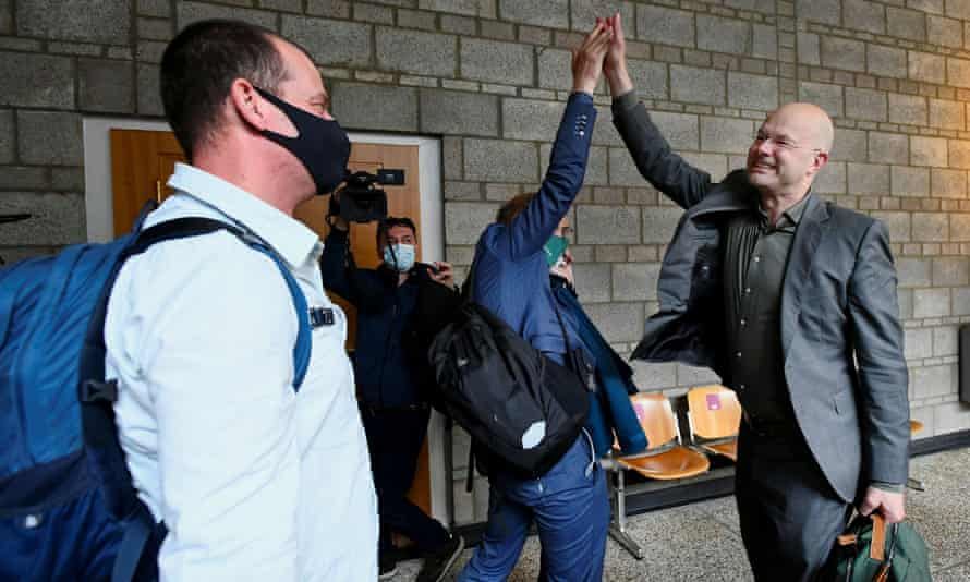 Donald Pols, director of Milieudefensie, an environmental group, reacts after the verdict at the Hague.