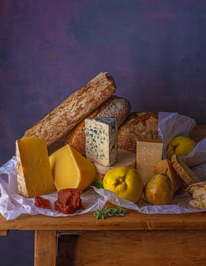 Bread and cheese made to look like still life painting