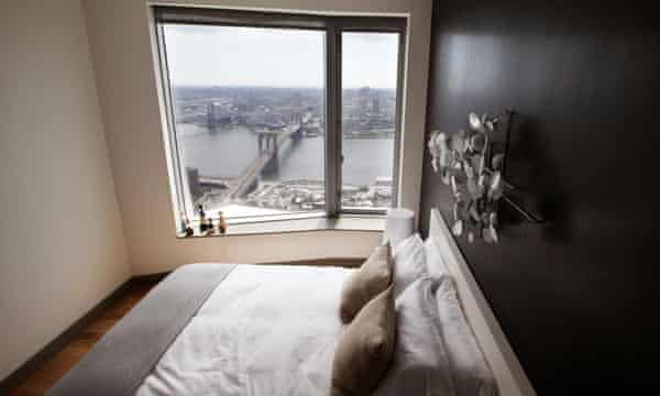 A view from inside 'New York by Gehry', Frank Gehry's 76-storey residential tower in Lower Manhattan.