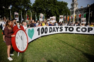 Climate crisis protestors demonstrating today outside parliament in London, highlighting the fact that we're 100 days away from the Cop26 conference.