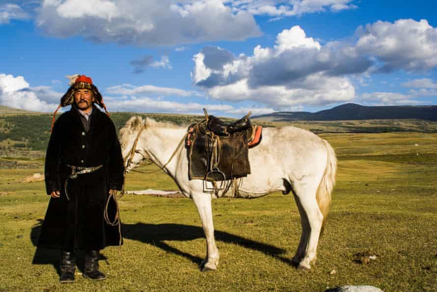 A horseman in Altai Tavan Bogd national park, Mongolia.