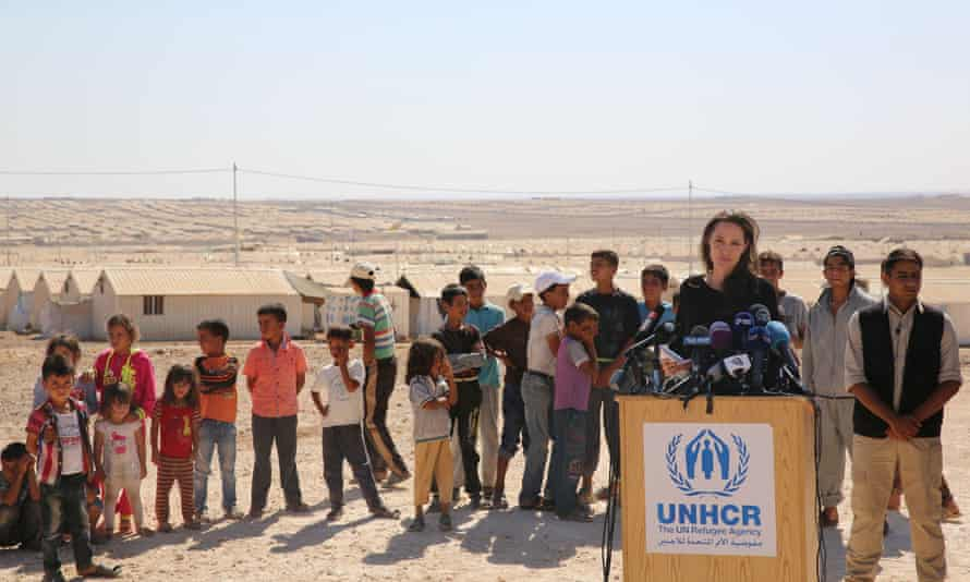 Actor and UNHCR special envoy Angelina Jolie talks to the press during a visit to a Syrian refugee camp in Azraq in northern Jordan in September 2016.