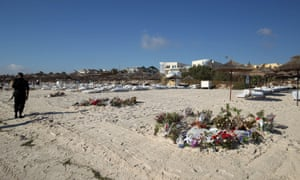 Flowers on the beach in Sousse, Tunisia, where 38 people lost their lives in June.