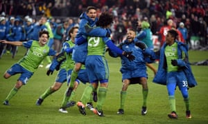 Seattle celebrate their victory.