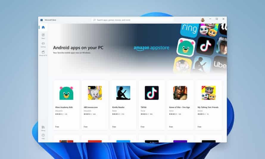 Microsoft Storeページには、統合されたAmazon App Storeが表示されます。これにより、ユーザーはWindows11にAndroidアプリをインストールできます。