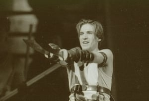 Troilus and Cressida, 1990. Directed by Sam Mendes, designed by Anthony Ward. The photograph shows Troilus (Ralph Fiennes).