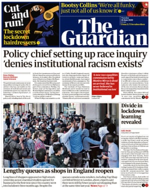 Guardian front page, Tuesday 16 June 2020