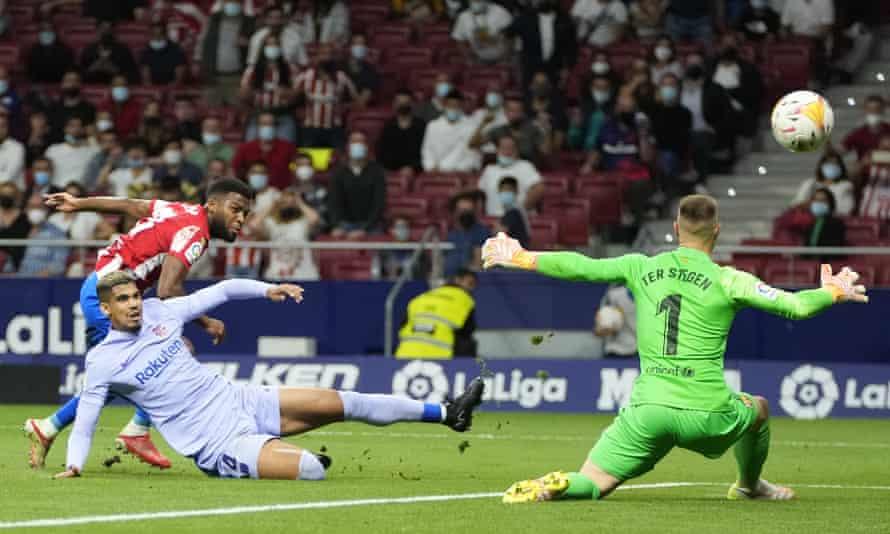 Thomas Lemar gives Atlético the lead.