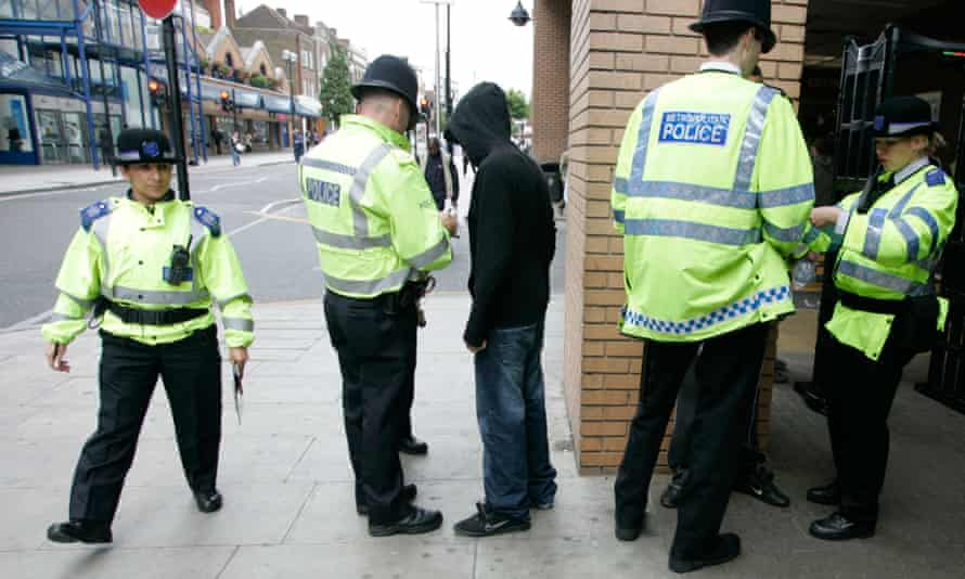 Police performing a stop and search in Harrow, London