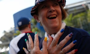 A British with Union Jack nails outside the Maracana stadium in Rio de Janeiro, ahead of the opening ceremony of the Olympic Games.