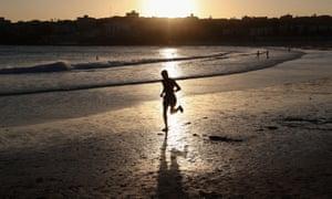 A sunset run on Bondi beach in Sydney, Australia.