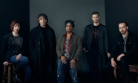 'All stories can be folded into Sandman.' Neil Gaiman, second from left, with the authors taking Sandman forwards: from left Kat Howard, Nalo Hopkinson, Si Spurrier and Dan Watters.