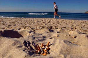 Cigarette butts on Bondi Beach, Sydney.