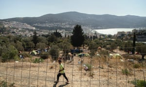 Refugee tents, with Vathy seen in the background.