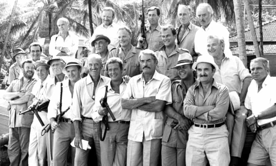 Moray Watson, middle row, second from right, with the cast of The Sea Wolves, 1980.