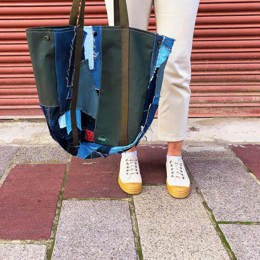 A tote bag made from jeans