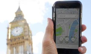The Uber app in London.