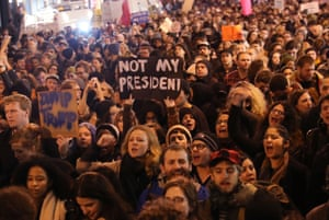 Thousands of anti-Donald Trump protesters shut down 5th Avenue in front of Trump Tower.