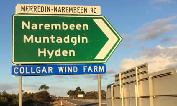 The turn off to Collgar windfarm from the Great Eastern Highway, a few kilometres out of Merredin, Western Australia.