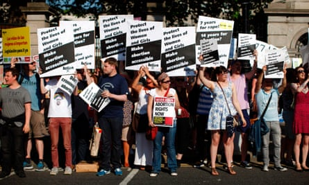Pro-choice campaigners outside parliament in Dublin in 2013.