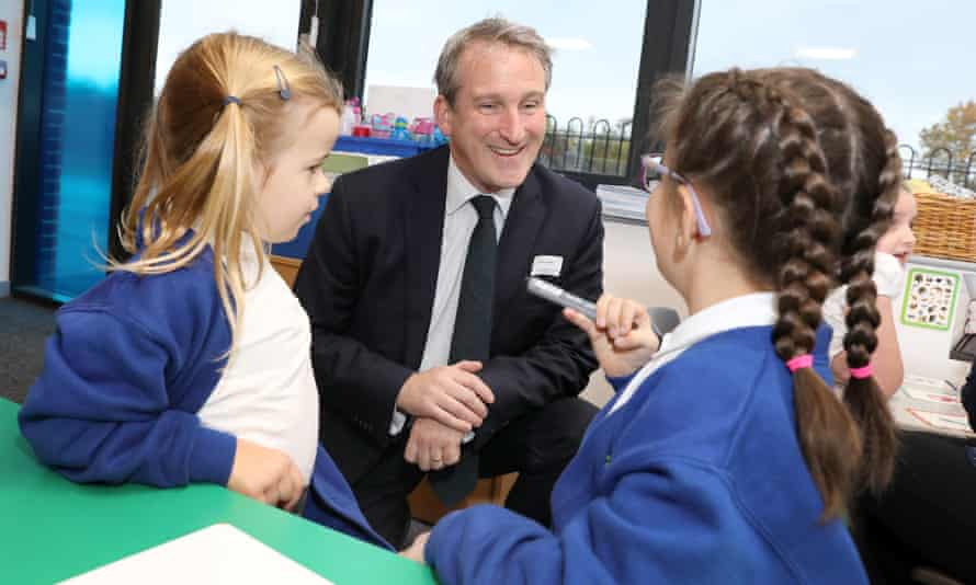 The education secretary, Damian Hinds, visiting Darras Hall primary school in Northumberland