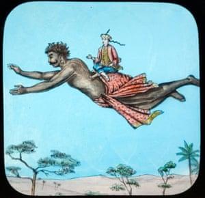 Aladdin rides on the jinni's back in this Victorian magic lantern slide