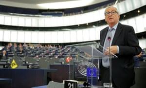 Jean-Claude Juncker speaking in the European parliament.