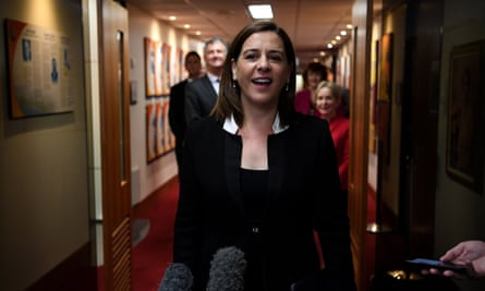 Deb Frecklington before a Liberal National party meeting earlier this year