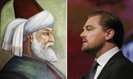Challenging Muslim stereotypes? … poet Jalal al-Din Rumi, left, and actor Leonardo Di Caprio.