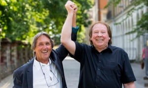 "Richard Westwood and Leonard ""Chip"" Hawkes celebrate after being formally acquitted."