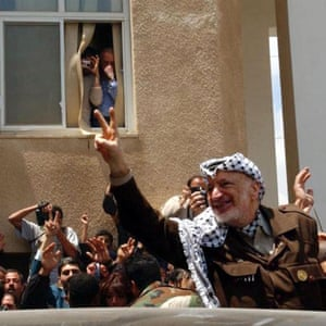 Yasser Arafat after the Israeli siege of his headquarters in Ramallah in 2002.