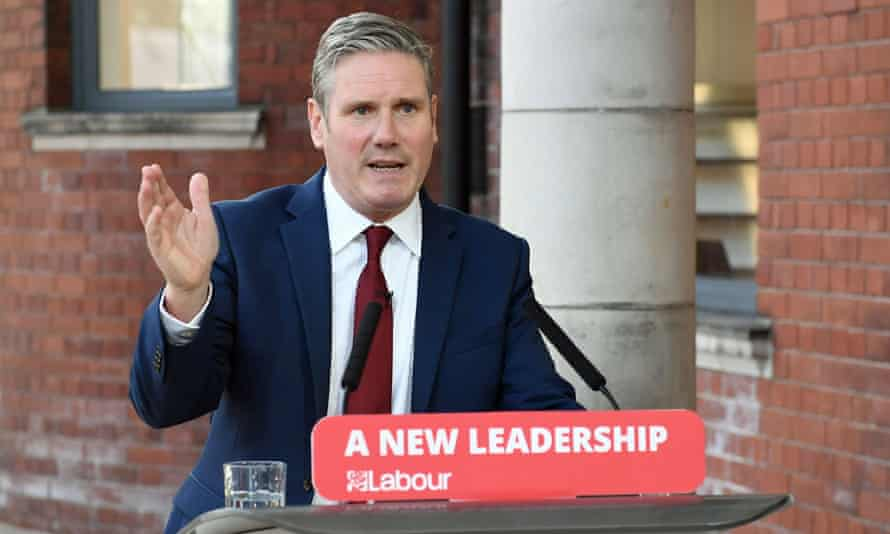 The Labour leader, Keir Starmer, delivers his keynote speech during the party's online conference from the Danum Gallery in Doncaster.