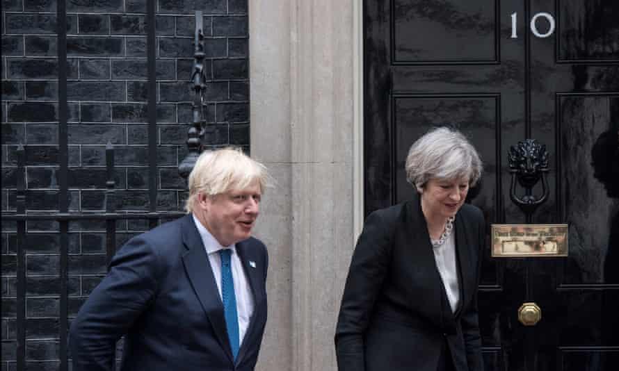 Boris Johnson, then foreign secretary, with Theresa May at Downing Street.