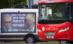 The Vote Leave campaign bus passes a Vote Remain poster featuring Nigel Farage and Boris Johnson.