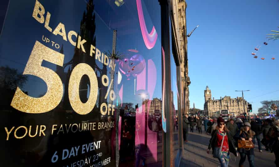A Black Friday sign at a store in Edinburgh