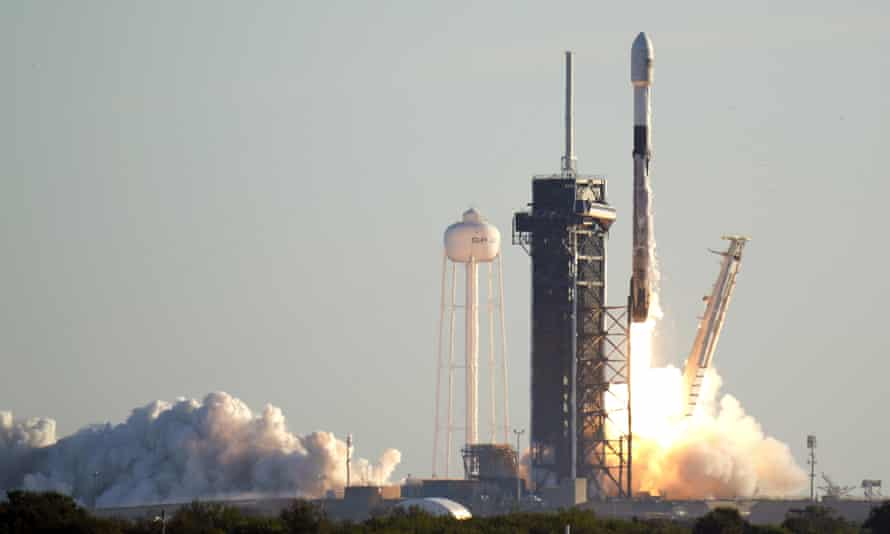 A SpaceX rocket lifts off from Kennedy Space Center in Cape Canaveral, Florida