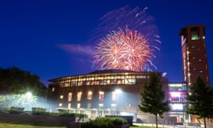 Fireworks display over the RSC Theatre in Stratford-upon-Avon.